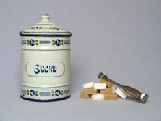 Early Vintage Enameled Sugar Canister from the by Yesterdaysfrance, $38.50