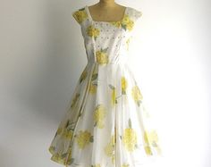Garden Party Vintage 1950s Dress White Yellow Floral Print Rhinestone Fit Flare Chiffon L