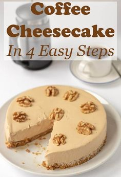 Coffee cheesecake in 4 easy steps is a delicious no bake recipe. This easy to make dessert will satisfy both coffee and cheesecake lovers alike! The post Coffee Cheesecake in 4 Easy Steps appeared first on Win Dessert. Cheesecake Au Café, Coffee Cheesecake, Easy Cheesecake Recipes, Easy Pudding Recipes, Salted Caramel Cheesecake, Raspberry Cheesecake, Easy To Make Desserts, No Bake Desserts, Dessert Recipes