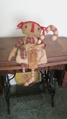 Primitive Christmas Raggedy by Bettesbabies on Etsy, $43.00
