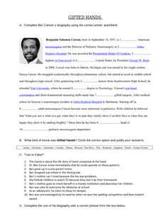 Movie Worksheet: Gifted Hands (Ben Carson's Story)