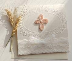 Niña hecho a mano BAUTIZO/Bautismo invitación invitación/blanco elegante de…
