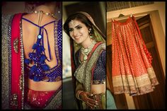 Red and blue outfit with golden work for the bride on her big day #WeddingSutra