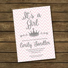 Pink & Silver Baby Shower Invitation  It's a Girl by BashDesigns15