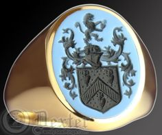 Blue Sardonyx stone engraved with a coat of arms
