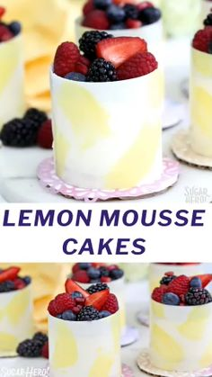 Lemon Mousse Cakes in White Chocolate Shells are mini desserts made with lemon cake, lemon mousse, and fresh berries, wrapped in a white chocolate shell! Lemon Desserts, Köstliche Desserts, Dessert Recipes, Plated Desserts, Recipes Dinner, Chocolate Mousse Recipe, Chocolate Recipes, Mini Tortillas, Lemon Mousse Cake