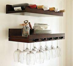 Set 2 mensole cantinetta portabottiglie vino porta bicchieri cil