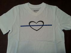 Thin Blue Line and Heart Girls Shirt, Law Enforcement Support by GeoDreams on Etsy Thin Line, Thin Blue Lines, Support Law Enforcement, Shirts For Girls, My Etsy Shop, Trending Outfits, Heart, Mens Tops