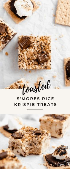 S'mores Rice Krispie Treats – Broma Bakery Oh helllllo there, homemade s'mores rice krispie treats. These marshmallowy rice krispie treats are loaded with graham cracker pieces and Hershey's chocolate chunks. So easy and SO good! Smores Bar Recipe, Homemade Rice Krispies Treats, Broma Bakery, Starbucks Recipes, Dessert Recipes, Rice Recipes, Popcorn Recipes, Sweet Desserts, Dessert Ideas