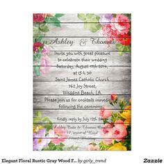 Elegant Floral Rustic Gray Wood Fall Wedding 5x7 Paper Invitation Card