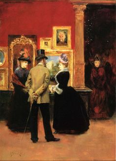 Ladies with a Gentleman in a Top Hat by Julius Leblanc Stewart (American 1855-1919)