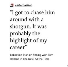 """º carterbaaizen got to chase him around with a shotgun. It was probably the highlight of my career"""" Sebastian Stan on filming with Tom Holland in The Devil All the Time – popul. Marvel Actors, Marvel Characters, Marvel Avengers, Marvel Funny, Marvel Memes, Dc Memes, Funny Memes, Hilarious, Raining Men"""