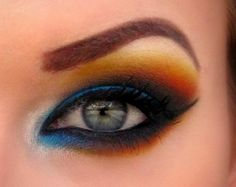 Bright blue with orange and yellow