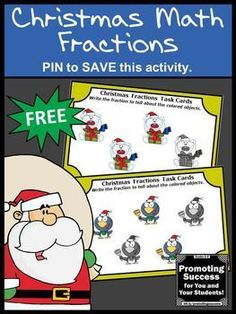 FREE Christmas Math Activities with Fraction Task Cards for 3rd Grade Games