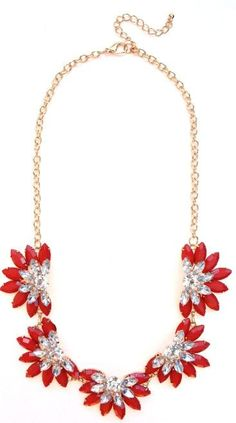 Designer Inspired Fan Crystal Statement Necklace- Red