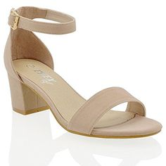 90dc4518fe WOMENS LOW MID HEEL BLOCK PEEP TOE LADIES ANKLE STRAP PARTY STRAPPY SANDALS  3-8: Amazon.co.uk: Shoes & Bags