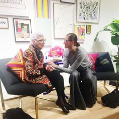 """People always ask me how long it takes me to get dressed, I don't know, I don't have a stop watch. I just pick up what I wore the night before."" She's as sharp as a tack and the cutest person alive. Such an honor to have Iris Apfel come talk to us!"
