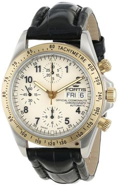Fortis Men's 630.60.12 LC.01 Official Cosmonauts Swiss Automatic Gold Ion-Plated Bezel Chronograph Tachymeter Leather Watch