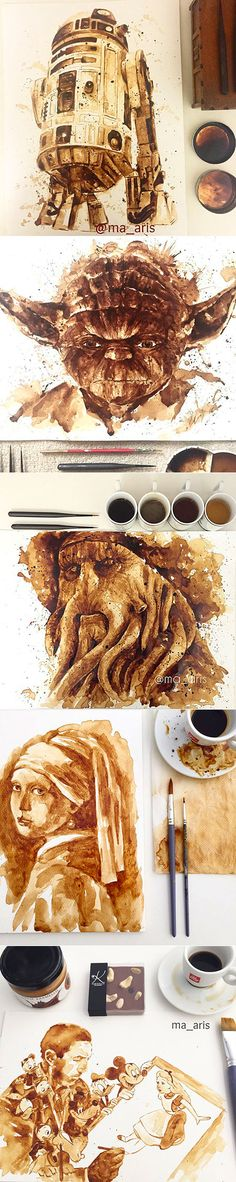 """Commercial artist Maria A. Aristidou has created an incredible array of amazingly detailed portraits using different blends of coffee on watercolor paper. Maria has stated that the first portrait was """"made by accident"""" but """"coffee painting has really grown"""" on her. Among her subjects are R2-D2 and Yoda from Star Wars, Bob Marley, Davy Jones, Hugh Laurie, and a variety of Disney characters, just to name a few."""