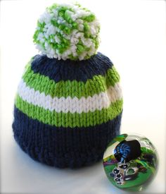 Seahawks Blue Green & White Beanie - Max's Mini Baby Beanie Hat - can be custom made to fit babies, kids and adults: by AquaLumen, $27.00 - $29.00 GO HAWKS!!!