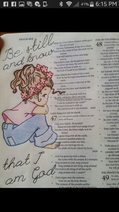"""Psalm 46 """"Be still and know that I am God."""" illustrated faith, journaling Bible"""