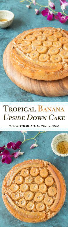 Tropical Banana Upside Down Cake (Upside Down Banana Cake) Best Cake Recipes, Banana Recipes, Sweet Recipes, Favorite Recipes, Easy No Bake Desserts, Delicious Desserts, Dessert Recipes, Yummy Food, Upside Down Desserts