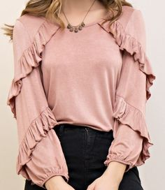 Pink Ruffle Layered Long Sleeve Top Shannasthreads.com #modestfashion #ruffletop #pinktop
