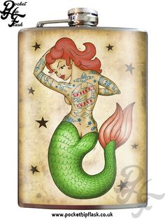 Tattooed Mermaid 8oz Stainless Steel Hip Flask