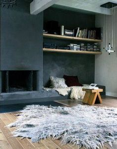 Concrete fireplace and bookshelf Concrete Fireplace, Fireplace Design, Grey Fireplace, Concrete Bench, Interior Architecture, Interior And Exterior, Interior Design, Living Area, Living Spaces