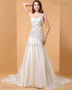 Meerjungfrau Stil Reißverschluss Kirche Gericht Schleppe luxus Brautkleid mit Blume - Bild 1