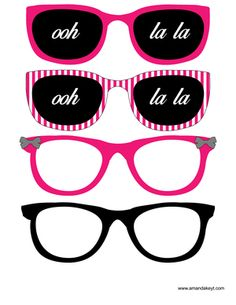 Glasses from Paris Hot Pink Printable Photo Booth Prop Set
