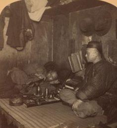 """Animated GIF of stereoscopic card, """"An Opium Den, Chinatown, San Francisco, California. (1868?-1900?)"""" from NYPL Digital Gallery"""