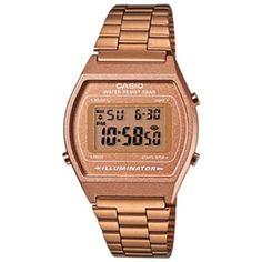 Retro Casio digital watch in rose gold.