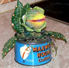 Little Shop of Horrors, small Audrey II in coffee can