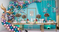 Imaginative Approach on Birthday Party Ideas Mermaid Theme Birthday, Little Mermaid Birthday, Little Mermaid Parties, Girl Birthday, Balloon Decorations, Birthday Decorations, Deco Ballon, Mermaid Baby Showers, Mo S