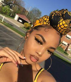 2019 Latest Lovely Makeup Styles For Dark skin Ladies - Naija's Daily Permed Hairstyles, Black Girls Hairstyles, Scarf Hairstyles, Dark Skin Makeup, Glowy Skin, Turbans, Beauty Makeup, Hair Makeup, Hair Beauty