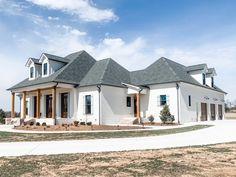 Madden Home Design, Acadian Homes, Porch Supports, Column Structure, Louisiana Homes, Farmhouse Floor Plans, Stucco Exterior, Timber Beams, Dormer Windows