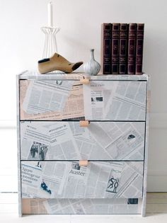 Magazine page decorated chest of drawers - would look just as good with book pages