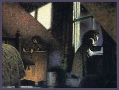 """""""The Whales' Song"""" Illustrated by Gary Blythe 'The room was bright with moonlight'"""