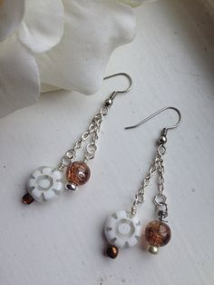 Handcrafted White Flower Bead Dangle Drop Earrings by goldenhandscreations, $15.00