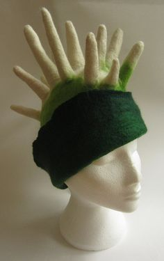 Green and white spiky felted wool hat by TeriBerryCreations