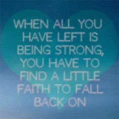 Faith to fall back on