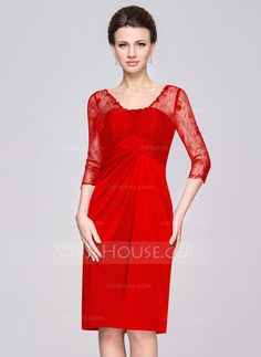 Sheath/Column V-neck Knee-Length Lace Jersey Mother of the Bride Dress With Ruffle (008056832)