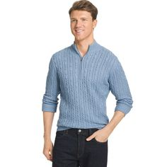 Men's IZOD Classic-Fit 7GG Cable-Knit Quarter-Zip Sweater, Size: Medium, Blue Other
