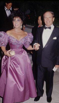 Nolan Miller designer Purple embroidered bustier Elizabeth Taylor with designer