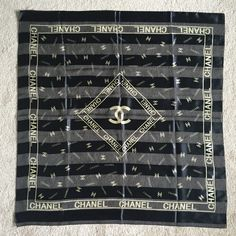 Chanel Designer Scarf Black Gold Logo 40'' Square #CHANEL #Scarf