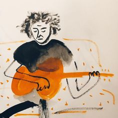 "Gefällt 88 Mal, 5 Kommentare - Anna Pini (@annapini_illustrator) auf Instagram: ""🎼🎧💙!!#illustration #illust #illustrator #brushpen #ink #ecoline #guitarist #music #artoftheday…"""