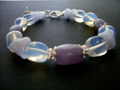 Opalite stone bracelet, Sterling Silver, semi precious gemstone bracelet in pale blue and lavender, single strand beads, blue stone jewelry on Etsy, $42.00