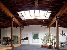 Again, the NYC artist's loft.  Platforms replace walls to define spaces.  Important skylight.