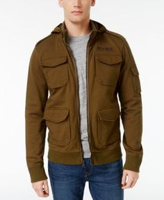 703a5f798 Tommy Hilfiger Men's Ernesto Full-Zip Cotton Jacket Tommy Shop, Cotton  Jacket, Green